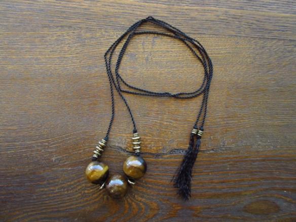 Tigers Eye Nylon Tassel Necklace